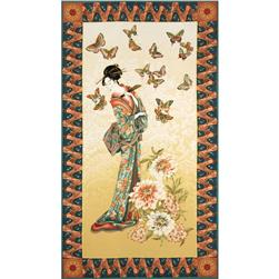 Tea House Geisha Garden Panel Antique/Teal