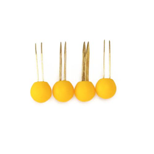 Tiny Matte Resin Ball Handbag Feet Yellow 4/pkg