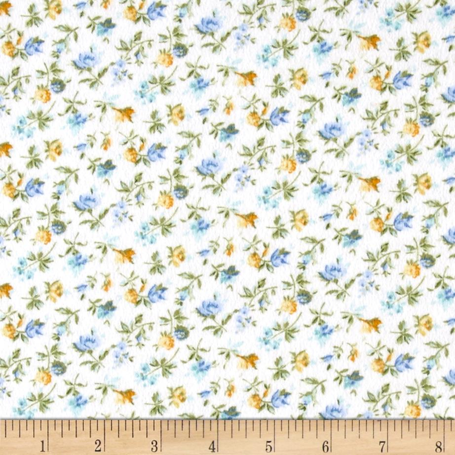 Blue Drama Fancy Flannel Small Floral Cream