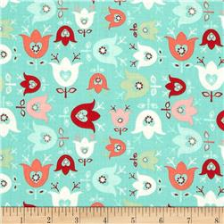 Folklore Blooming Tulips Turquoise Fabric