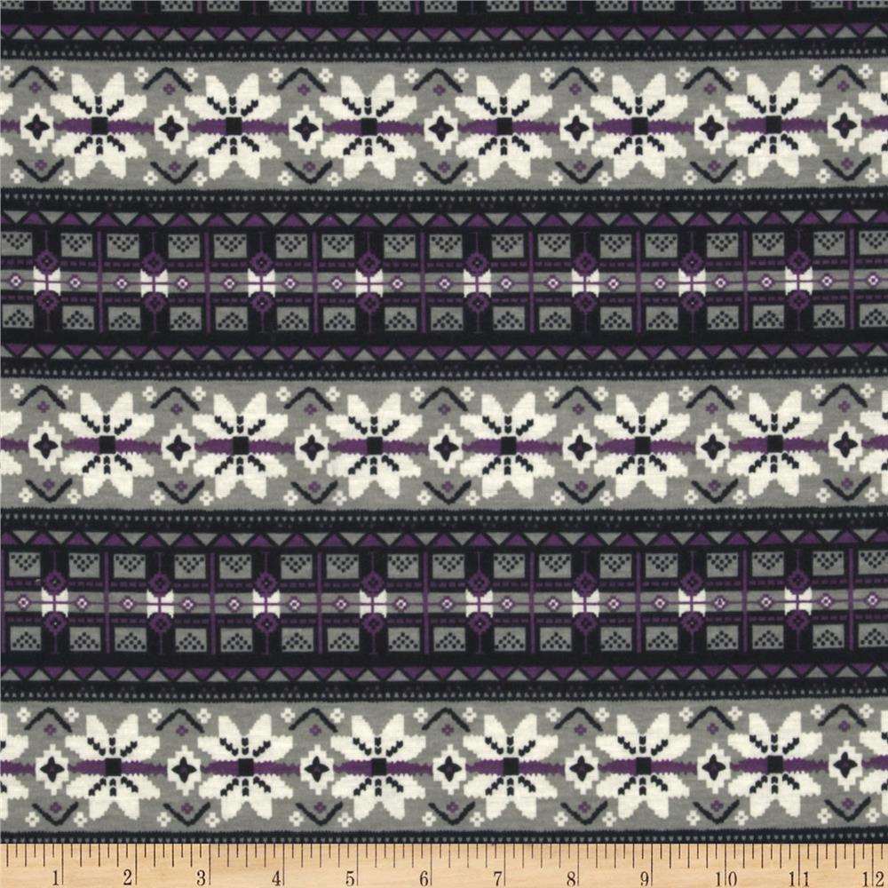 Designer Polyester Jersey Knit Fair Isle Stripe Grey/Purple