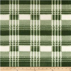 Fleece Print Plaid Green/White