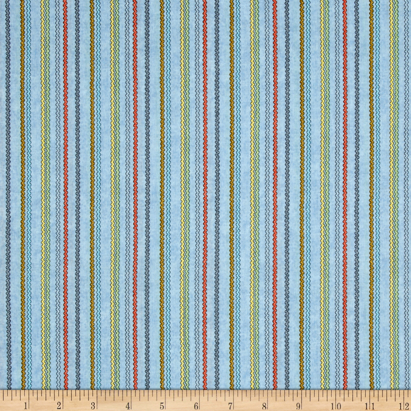 Purrfect Notions Ric Rac Stripe Blue Fabric