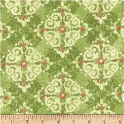 Velvet Blossoms Flannel Diamond Medallions Green