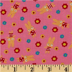 Tiny Prints Tossed Floral & Bunnies Pink