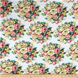 Rayon Challis Summer Floral White
