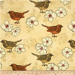 Birds and Blooms Birds and Blooms Sand Fabric