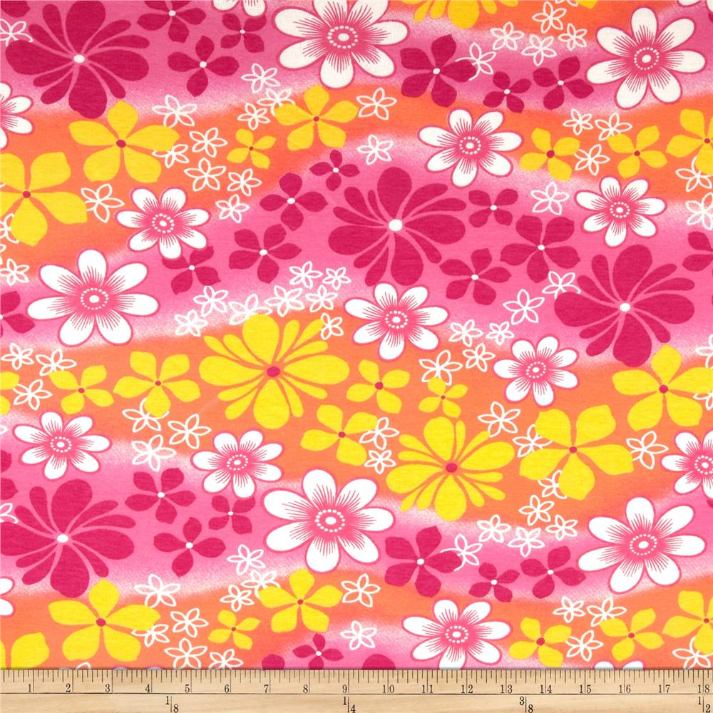 Cotton Baby Rib Knit Floral Pink/Orange/Yellow
