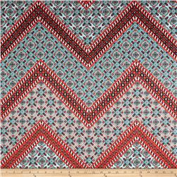 Cotton Stretch Sateen Chevron Coral/Aqua