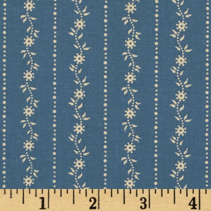 Party of Twelve Small Floral Stripe Blue