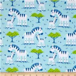 Timeless Treasures Flannel Zebras Aqua
