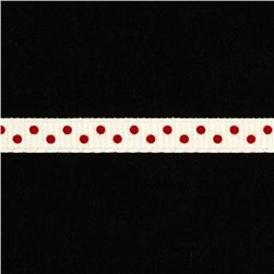 1/4'' Grosgrain Ribbon Mini Dot Red