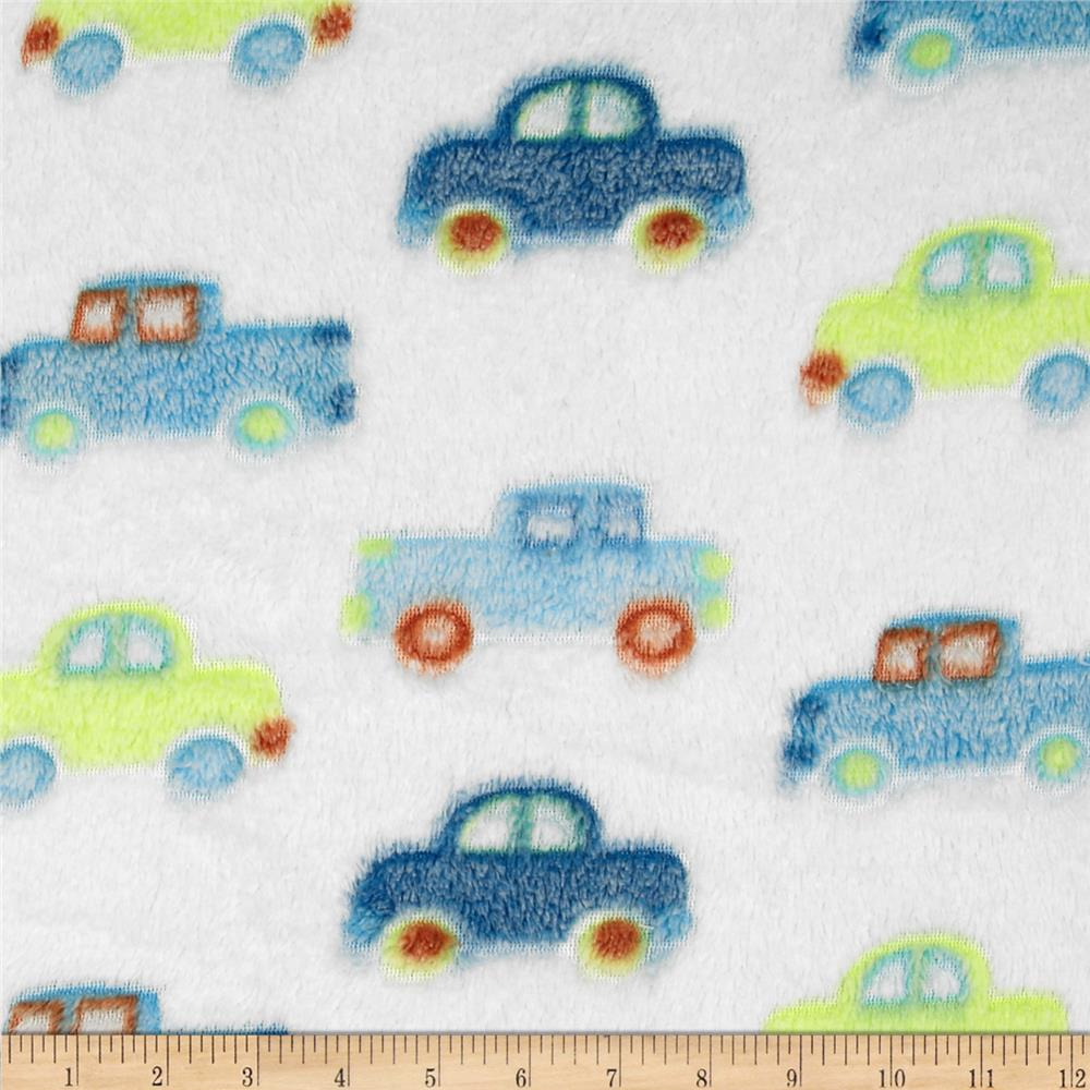 Minky Snuggle Fleece Cars Blue