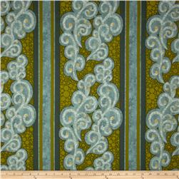 Metallic Large Scroll & Stripes Green/Turquoise