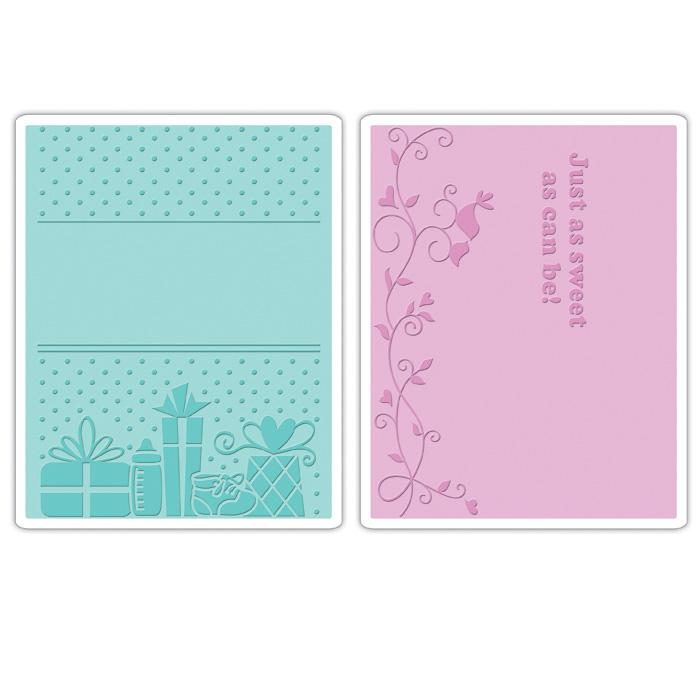 Sizzix Textured Impressions Embossing Folders 2 Pack-Baby Set