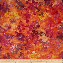 Indonesian Batik Floral Orange/Purple