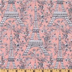 Michael Miller It's a Girl Thing Eiffel Tower Blossom Pink