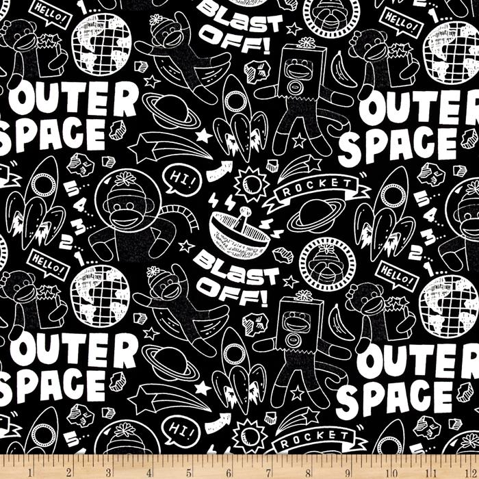 Sock Monkeys in Space Blast Off Black