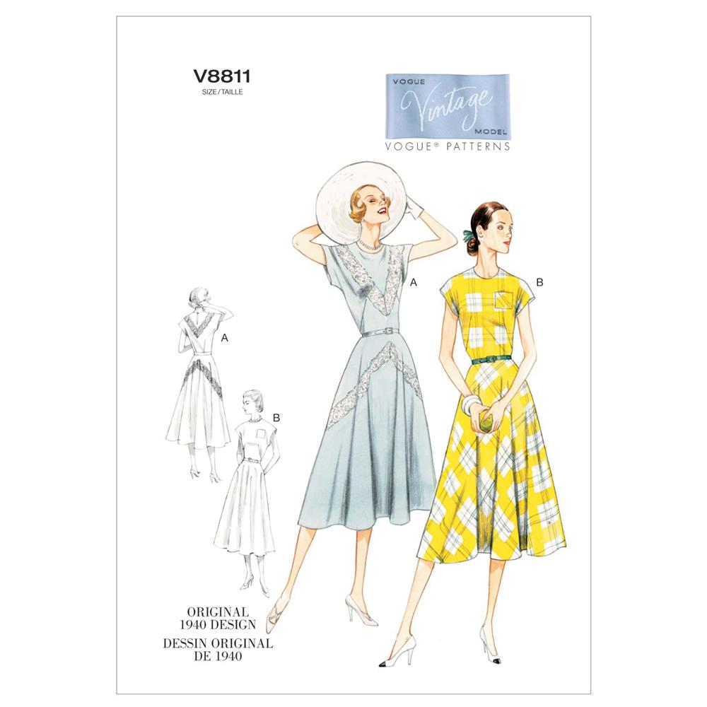 Vogue Misses' Dress and Belt Pattern V8811 Size AX5