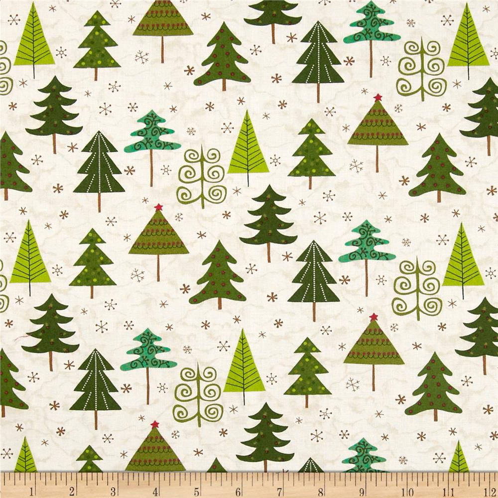 Evergreen Trees White