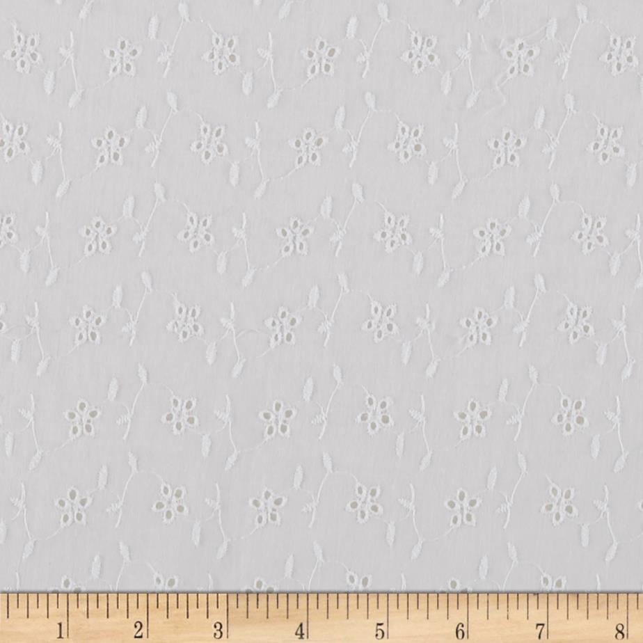 Cotton Eyelet Small Daisies White Fabric