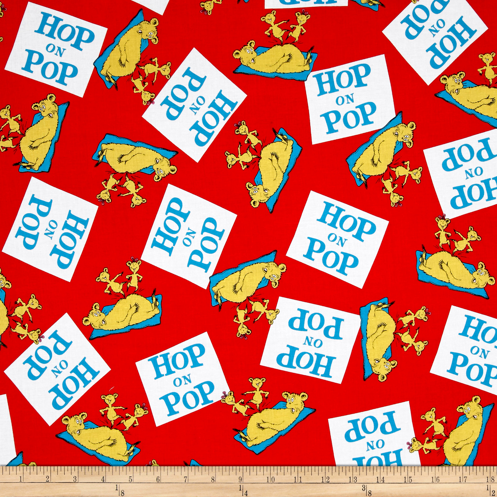 Dr Seuss Hop On Pop Words Red Fabric