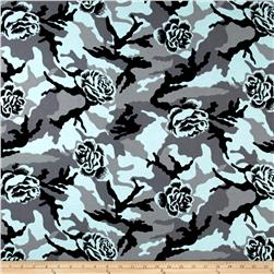 French Terry Knit Rose on Gray/Mint