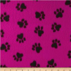 Fleece Paw Print Black/Hot Pink