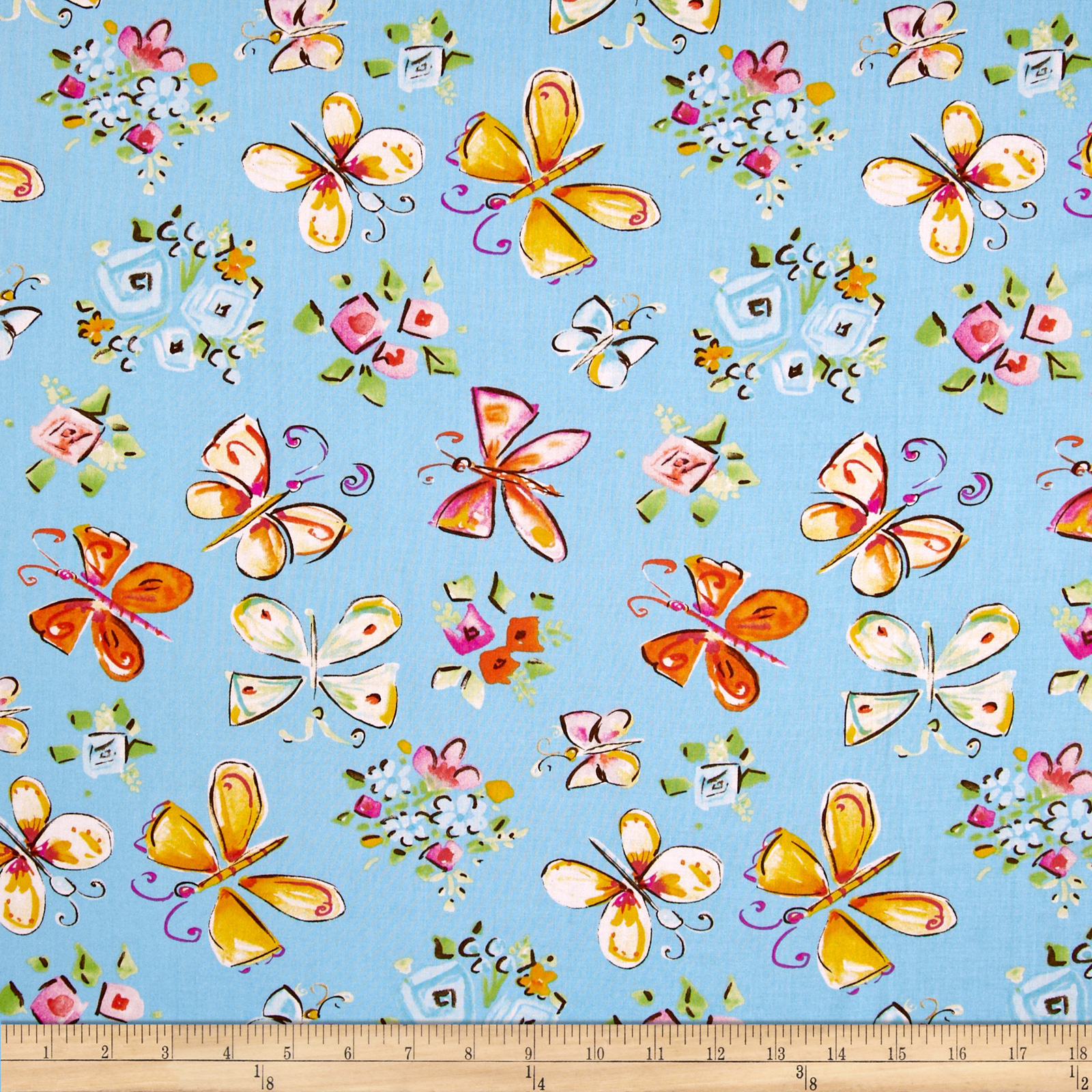Tiddlywinks Butterflies Blue Fabric
