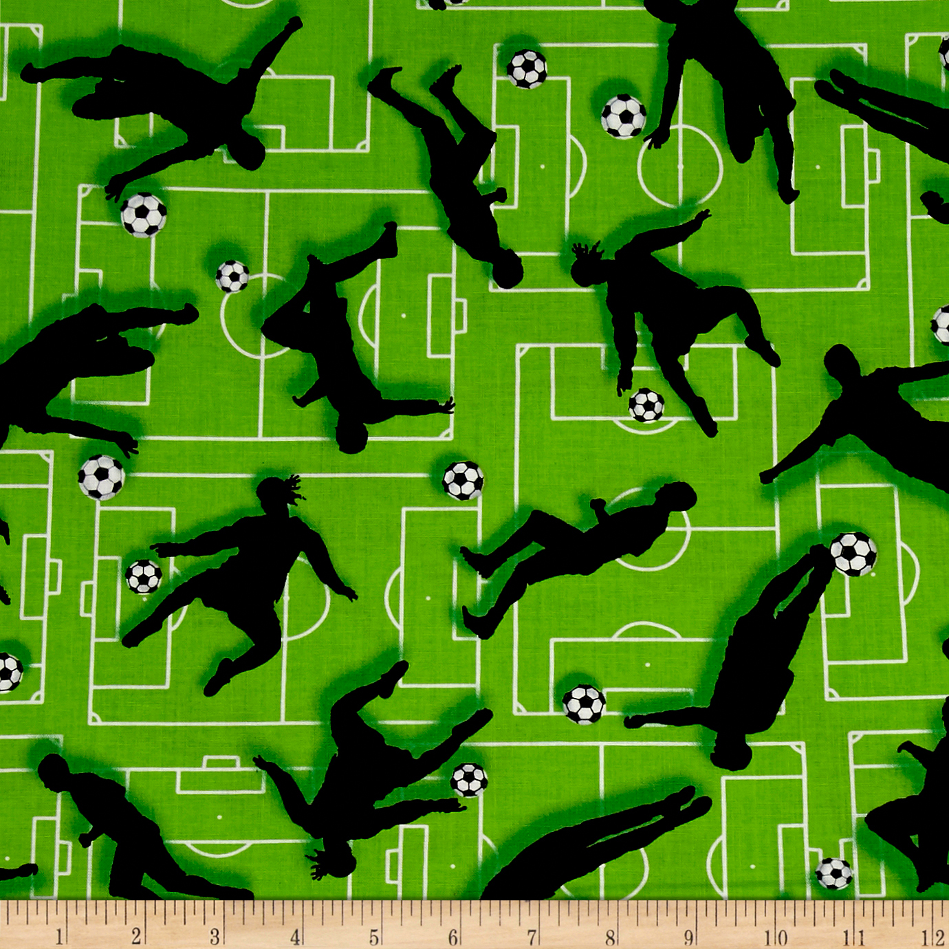 Score! Soccer Silhouettes Green Fabric by Henry Glass in USA