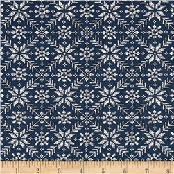 Moda Nordic Stitches Eight Leaf Rose Marine