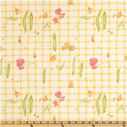 Flannel Backed Vinyl Garden Peas Yellow/Ivory