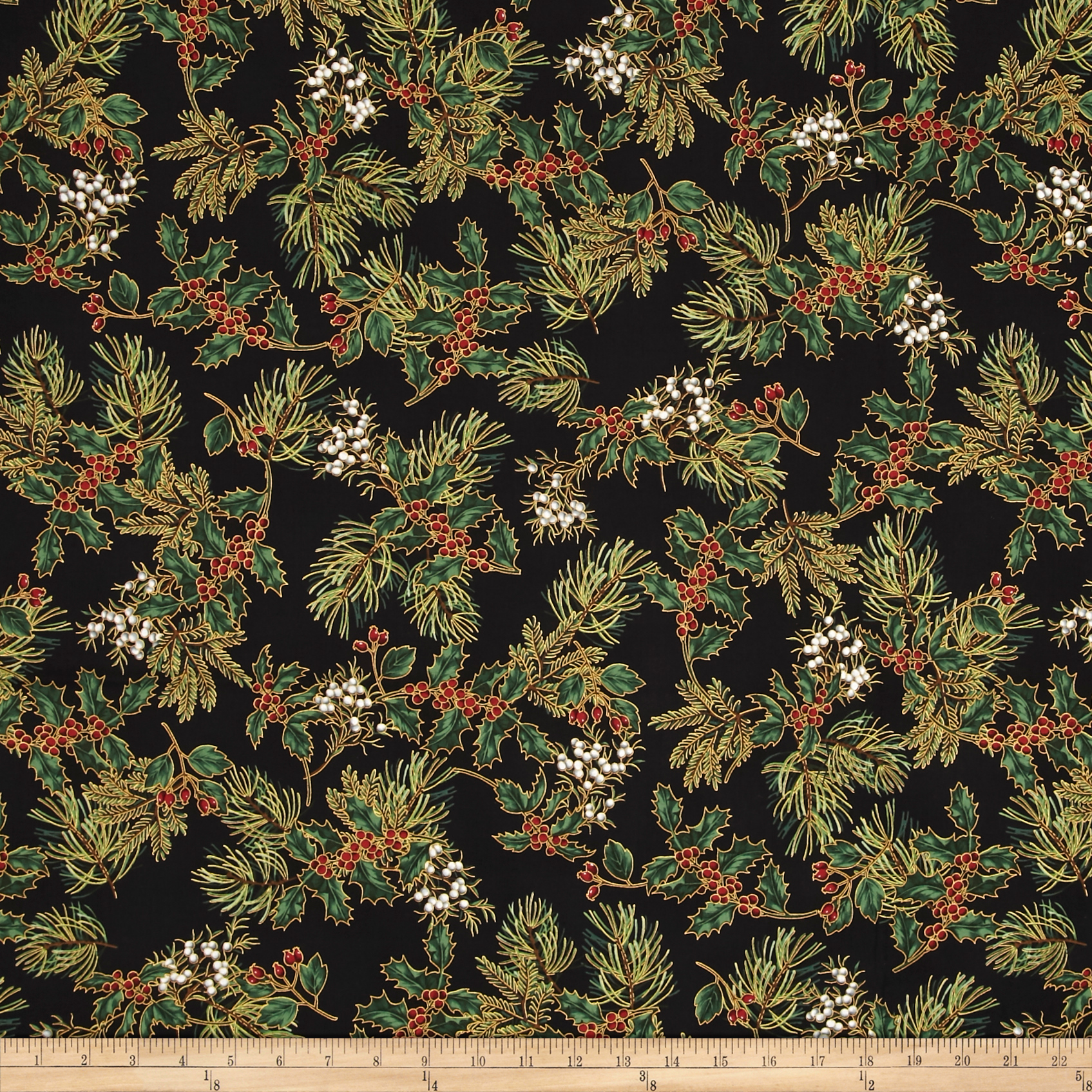 Warm Wishes Metallic Holly and Berries Black/Gold Fabric by Hoffman of California in USA