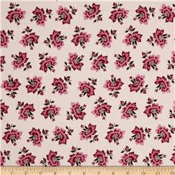 New Orleans 1850 Tossed Floral Dark Pink/Brown
