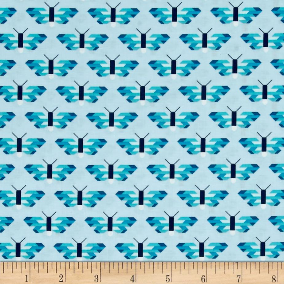 Kaufman Paintbox Pacific Butterflies Aqua