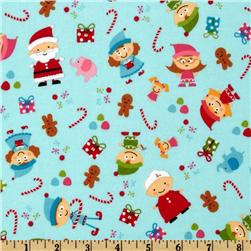 Santa's Workshop Flannel Elves Blue
