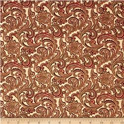 Chickadees and Berries Metallic Golden Scroll Cream/Red
