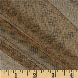 54'' Wide Leopard Print Tulle Brown Fabric