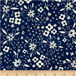 Cotton & Steel Bluebird Fox Tracks Blue