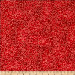Christmas Bells Metallic Scroll Red