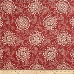 French General Brisbane Floral Blend Rouge Fabric