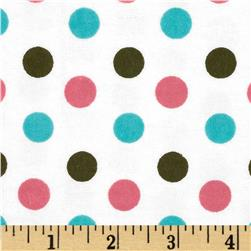 Aunt Polly's Flannel Large Polka Dots White/Pink/Grey/Aqua