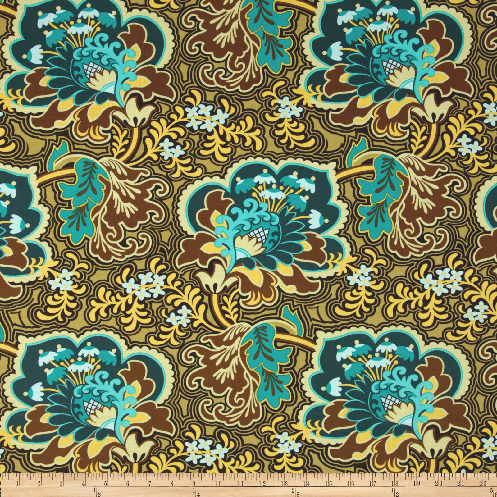 Amy Butler Belle Gothic Rose Turquoise Fabric
