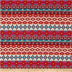 Stretch ITY Jersey Knit Aztec Multi-Orange/Jade/Red/Beige