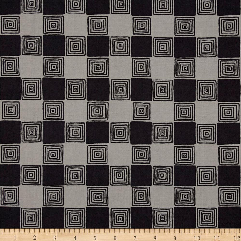 Kaufman Figment Geo Squares Charcoal