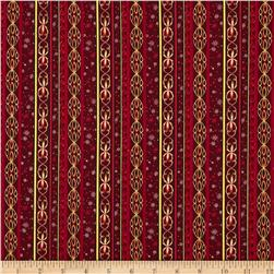 Holiday Classics Metallic Decorative Stripe Wine