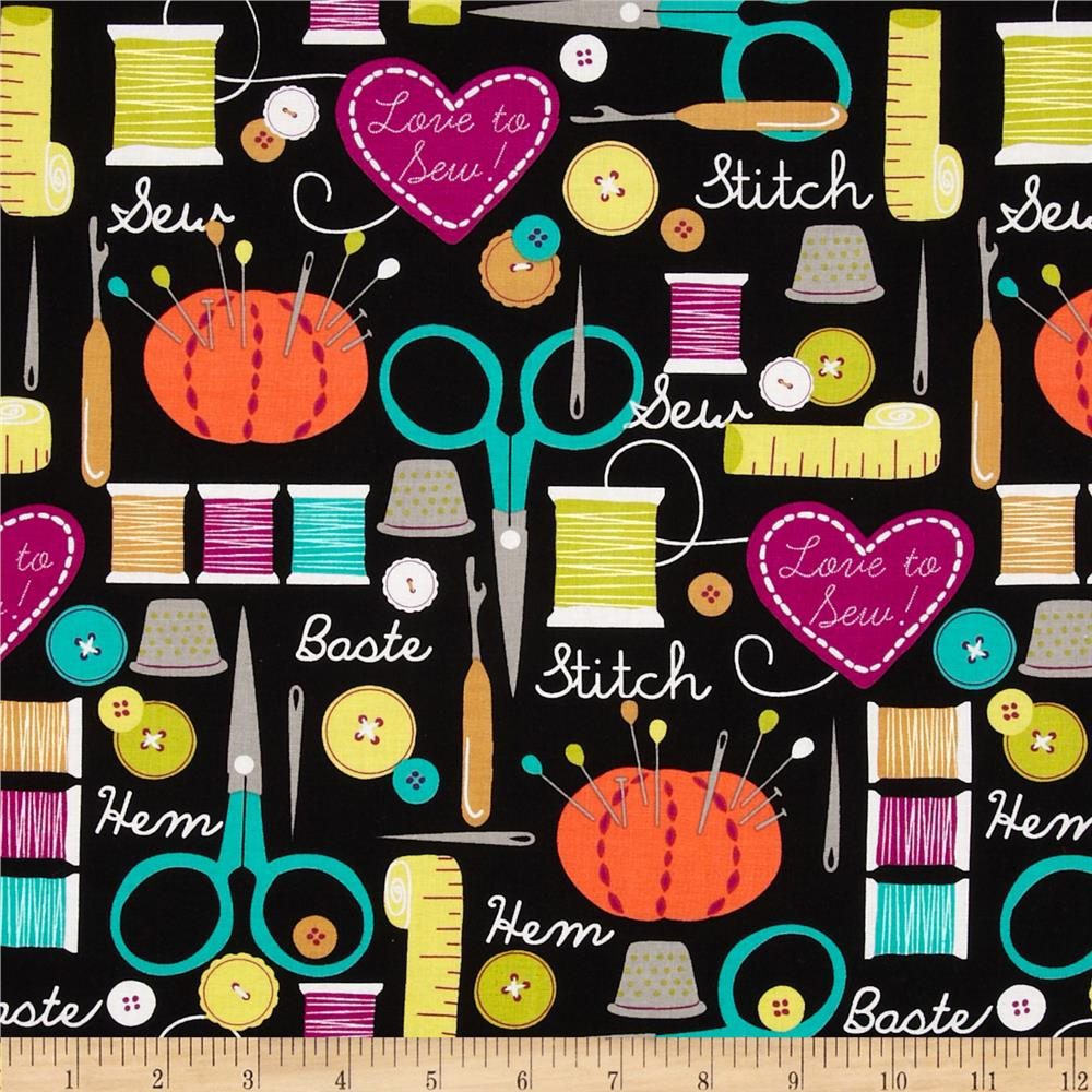 Michael Miller Love to Sew Collage Black