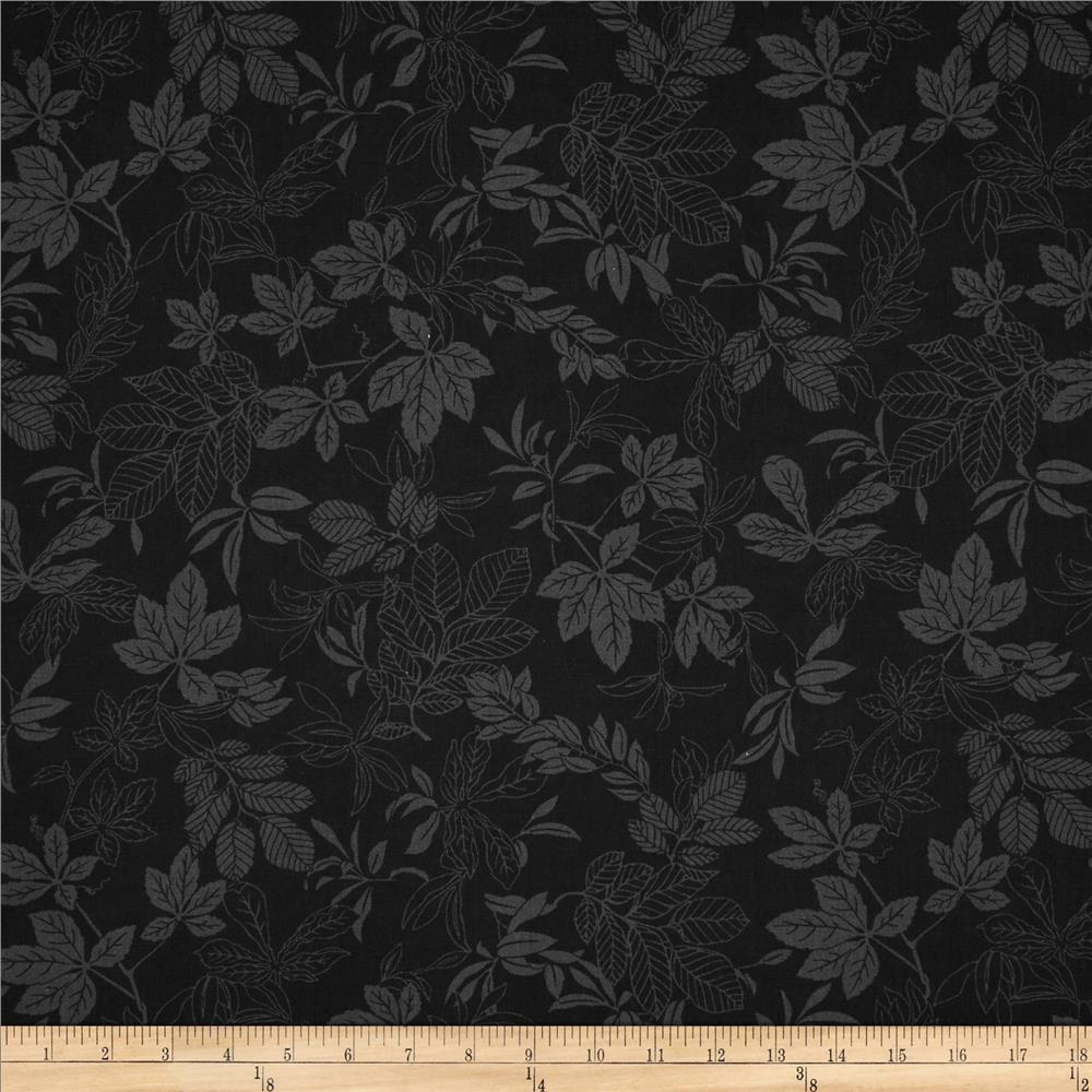 "108"" Wide Quilt Back Modern Leaf Black/Black"