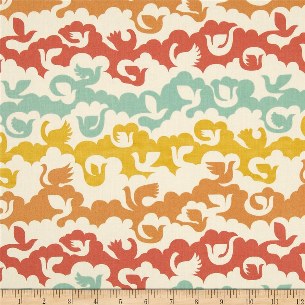 Birch Organic Ipanema Birds and Clouds Coral