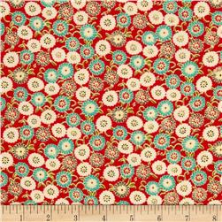 Rayon Challis Ditzy Floral Red/Jade